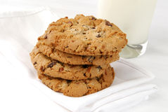 Chocolate chip cookies and milk Royalty Free Stock Image