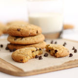 Chocolate Chip Cookies. With milk Royalty Free Stock Photography