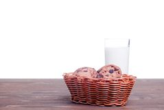 Chocolate chip cookies with milk on the board side view Royalty Free Stock Photography