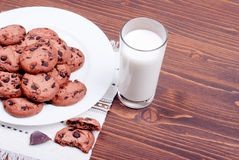 Chocolate chip cookies with milk on the board top view Stock Image