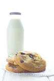 Chocolate chip cookies with milk in bottles Stock Photo