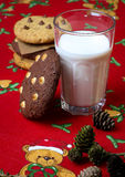 Chocolate Chip Cookies Milk Christmas Pattern Stock Photos
