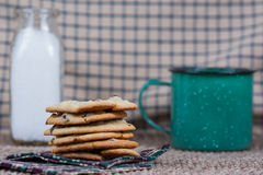 Chocolate chip cookies with milk and coffee Royalty Free Stock Photos