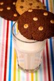 Chocolate Chip Cookies Milk Glass Imagen de archivo