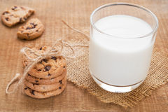 Chocolate chip cookies and milk glass hessian mats Royalty Free Stock Images