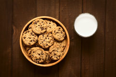 Chocolate Chip Cookies with Milk Stock Images