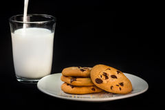 Chocolate Chip Cookies and Milk. A plate of natural organic home-made chocolate chip cookies with a glass of milk royalty free stock image