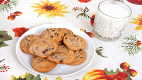 Chocolate Chip Cookies And Milk stock footage