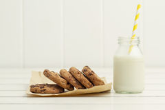 Chocolate chip cookies and milk. Some chocolate chip cookies and a school milk bottle Royalty Free Stock Photo
