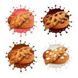 Chocolate chip cookies in milk and chocolate splashes 3d vector set royalty free illustration