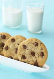 Chocolate Chip Cookies with Milk Royalty Free Stock Photos