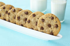Chocolate Chip Cookies with Milk Stock Photography