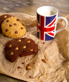 Chocolate Chip Cookies Milk Union Jack Mug Royalty Free Stock Photo