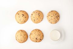Chocolate chip cookies  with milk on the white background top view Stock Images