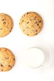 Chocolate chip cookies  with milk on the white background Royalty Free Stock Images
