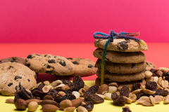Chocolate chip cookies with nuts Royalty Free Stock Images