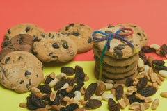 Chocolate chip cookies with nuts Royalty Free Stock Photo
