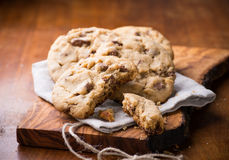 Chocolate chip cookies over olive wood board Stock Image