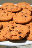 Chocolate Chip Cookies on a Plate. Close up of chocolate chip cookies on a plate Royalty Free Stock Photo