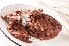 Chocolate Chip Cookies on Plate being Eaten Stock Photos