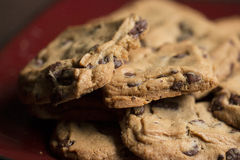 Chocolate Chip Cookies on Plate. Chocolate Chip Cookies on Burgundy Plate stock images