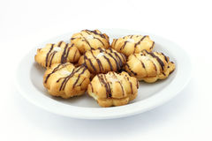 Chocolate chip cookies on a plate Royalty Free Stock Image