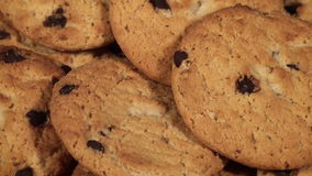 Chocolate Chip Cookies. Plate full of chocolate chip cookies closeup rotation stock video footage