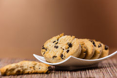 Chocolate chip cookies on a plate Royalty Free Stock Photography
