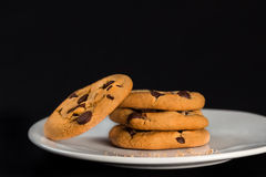 Chocolate Chip Cookies. A plate of natural organic home-made chocolate chip cookies royalty free stock images