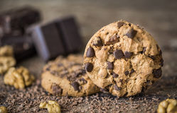 Chocolate Chip Cookies on Rustic Background Stock Image