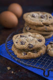 Chocolate Chip Cookies on a rustic cooling rack Stock Photos