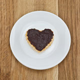 Chocolate chip cookies in the shape of heart Royalty Free Stock Image