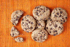 Chocolate chip cookies shot on jute colored cloth Stock Image