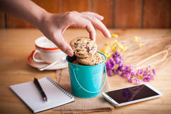 Chocolate chip cookies in small green bucket Royalty Free Stock Photo