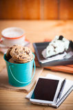 Chocolate chip cookies in small green bucket Royalty Free Stock Image