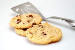 Chocolate chip cookies and spatula Royalty Free Stock Image
