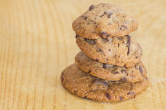 Chocolate chip cookies stacked Stock Images
