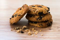 Chocolate chips cookies. Chocolate chip cookies on the table stock photos