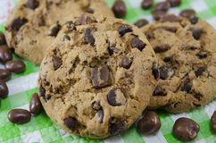 Chocolate chip cookies on a tablecloth Royalty Free Stock Image