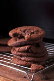 Chocolate Chip Cookies. Tall stack of soft chocolate chip cookie with a bite mark stock photography