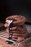 Chocolate Chip Cookies. Tall Stack of Soft Chocolate chip cookies with a reflective shadow Stock Photography