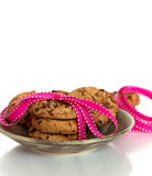 Chocolate chip cookies tied in a ribbon. Birthday and celebration concept, dessert time Stock Photos