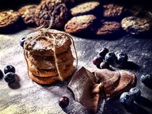 Chocolate chip cookies tied with string on shop window display royalty free stock photo
