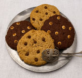 Chocolate Chip Cookies On Tin Plate Stock Photo