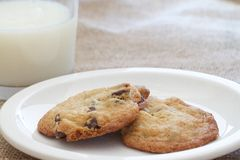 Chocolate chip cookies. Two homemade chocolate chip cookies and a glass of milk Stock Photos