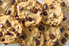 Chocolate chip cookies upclose Royalty Free Stock Image