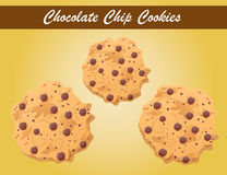 Chocolate chip cookies vector, cookie vector, bakery Stock Images