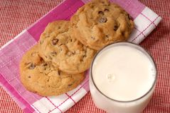 Chocolate chip cookies w/milk stock photography