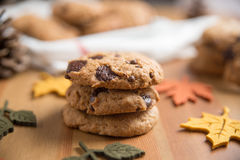 Chocolate chip cookies. With Warm Fall Colours Royalty Free Stock Photography