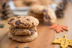 Chocolate chip cookies. With Warm Fall Colours Stock Images